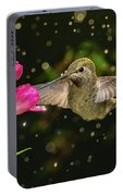 Hummingbird Visits Flowers In Raining Day Portable Battery Charger
