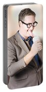 Humorous Businessman Licking Top Of Coffee Cup Portable Battery Charger