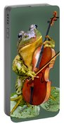 Humorous Scene Frog Playing Cello In Lily Pond Portable Battery Charger