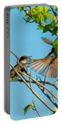 Hungry Birds In Tree Close-up Portable Battery Charger