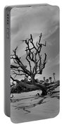 Hunting Island Beach And Driftwood Black And White Portable Battery Charger