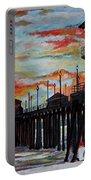 Huntington Beach Pier Sunset Portable Battery Charger
