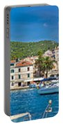 Hvar Yachting Harbor And Historic Architecture Panoramic  Portable Battery Charger