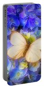 Hydrangea With White Butterfly Portable Battery Charger