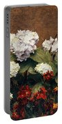Hydrangeas And Wallflowers And Two Pots Of Pansies Portable Battery Charger