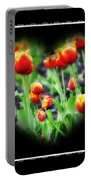 I Heart Tulips - Black Background Portable Battery Charger