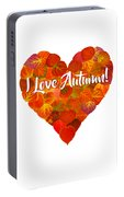 I Love Autumn Red Aspen Leaf Heart 1 Portable Battery Charger