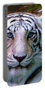 Ice Blue Eyes Of The Tiger Portable Battery Charger