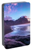Iceland Beach Sunrise At Stokksnes Portable Battery Charger