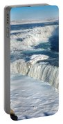 Iceland Gullfoss Waterfall In Winter With Snow Portable Battery Charger