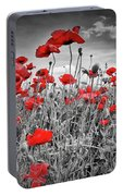 Idyllic Field Of Poppies Colorkey Portable Battery Charger