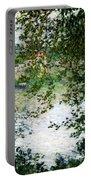 Ile De La Grande Jatte Through The Trees Portable Battery Charger by Claude Monet