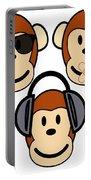 Illustration Of Cartoon Three Monkeys See Hear Speak No Evil Portable Battery Charger