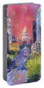 Impressionistic Downtown Austin City Painting Portable Battery Charger