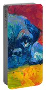 impressionistic Pug painting Portable Battery Charger by Svetlana Novikova