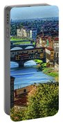 Impressions Of Florence - Long Blue Shadows On The Arno River Portable Battery Charger