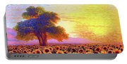In Awe Of Sunflowers, Sunset Fields Portable Battery Charger