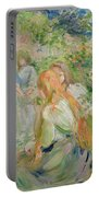 In The Garden At Roche Plate Portable Battery Charger by Berthe Morisot