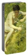 In The Meadow Portable Battery Charger by Henry Scott Tuke