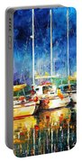 In The Port - Palette Knife Oil Painting On Canvas By Leonid Afremov Portable Battery Charger