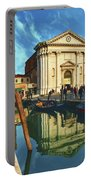 In The Waters Of The Many Venetian Canals Reflected The Majestic Cathedrals, Towers And Bridges Portable Battery Charger