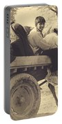 Indian People In Camel Cart- Sepia Portable Battery Charger