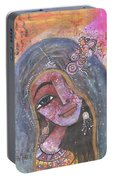 Indian Rajasthani Woman With Colorful Background  Portable Battery Charger