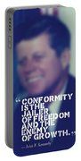 Inspirational Quotes - Motivational - John F. Kennedy 9 Portable Battery Charger