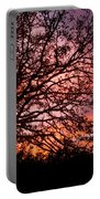 Intense Sunset Tree Silhouette Portable Battery Charger