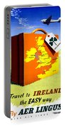 Ireland Vintage Travel Poster Restored Portable Battery Charger