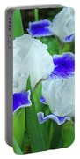 Iris Flowers Art Prints Blue White Irises Floral Baslee Troutman Portable Battery Charger