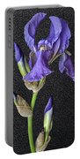 Iris On Black Leather Portable Battery Charger