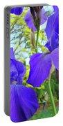 Irises Floral Garden Art Print Blue Purple Iris Flowers Baslee Troutman Portable Battery Charger
