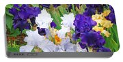 Irises Flowers Garden Botanical Art Prints Baslee Troutman Portable Battery Charger