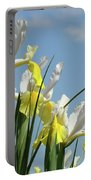 Irises In Blue Sky Art Print Spring Iris Flowers Baslee Troutman Portable Battery Charger