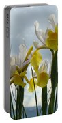 Irises Yellow White Iris Flowers Storm Clouds Sky Art Prints Baslee Troutman Portable Battery Charger