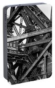 Iron Bridge Close Up In Black And White Portable Battery Charger