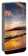 Island Gold - An Amazingly Golden Sunset On The Beach In Hawaii Portable Battery Charger