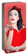Isolated Pin Up Woman Holding A Heart Shaped Sign Portable Battery Charger