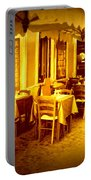Italian Cafe In Golden Sepia Portable Battery Charger