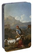 Italian Landscape With Girl Milking A Goat Portable Battery Charger