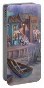 Italy Tuscan Decor Painting Seascape Village By The Sea Portable Battery Charger