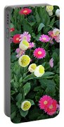 Ivory Tulips And Salmon Daisys Portable Battery Charger