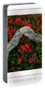 Ivy Geraniums And Log Poster Portable Battery Charger