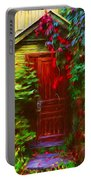 Ivy Surrounded Old Outhouse Portable Battery Charger