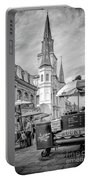 Jackson Square Scene New Orleans - Bw  Portable Battery Charger