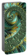 Jade And Yellow Fractal Spiral Portable Battery Charger