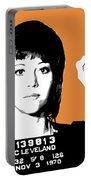Jane Fonda Mug Shot - Orange Portable Battery Charger