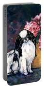 Japanese Chin And Hydrangeas Portable Battery Charger