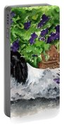 Japanese Chin Puppy And Petunias Portable Battery Charger